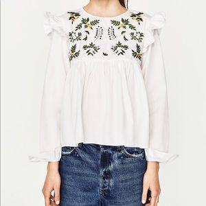 Zara Shirt with embroidered Flower